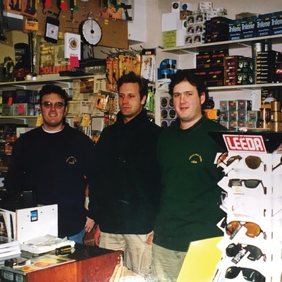 The guys at Johnson Ross tackle shop, circa 1999