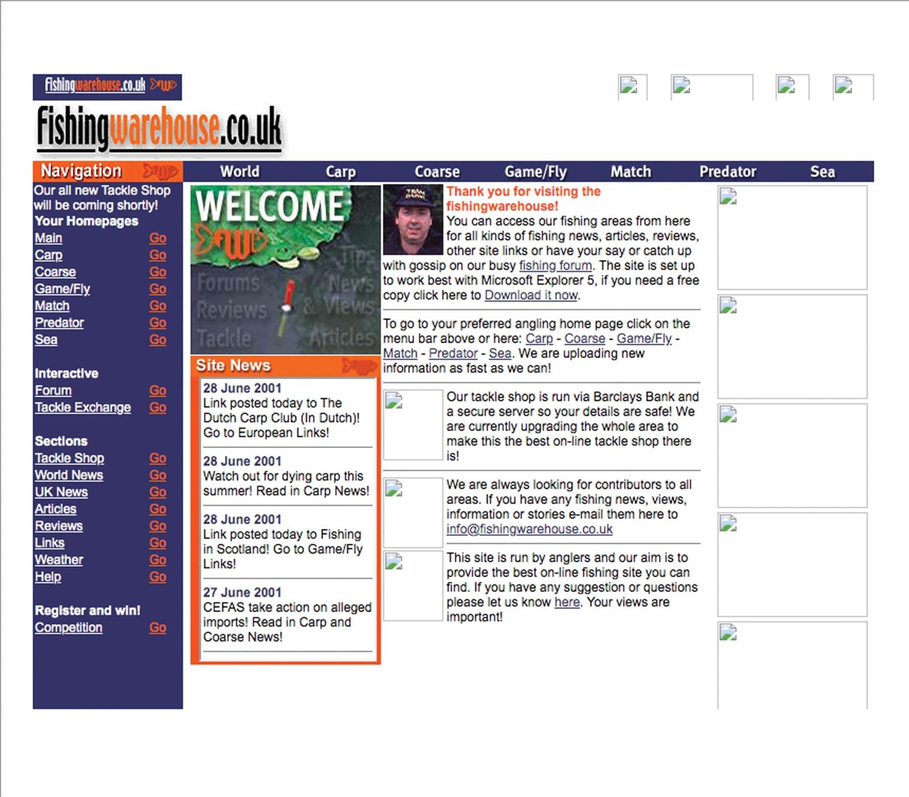The earliest screenshot we could get of Fishingwarehouses' homepage in 2001