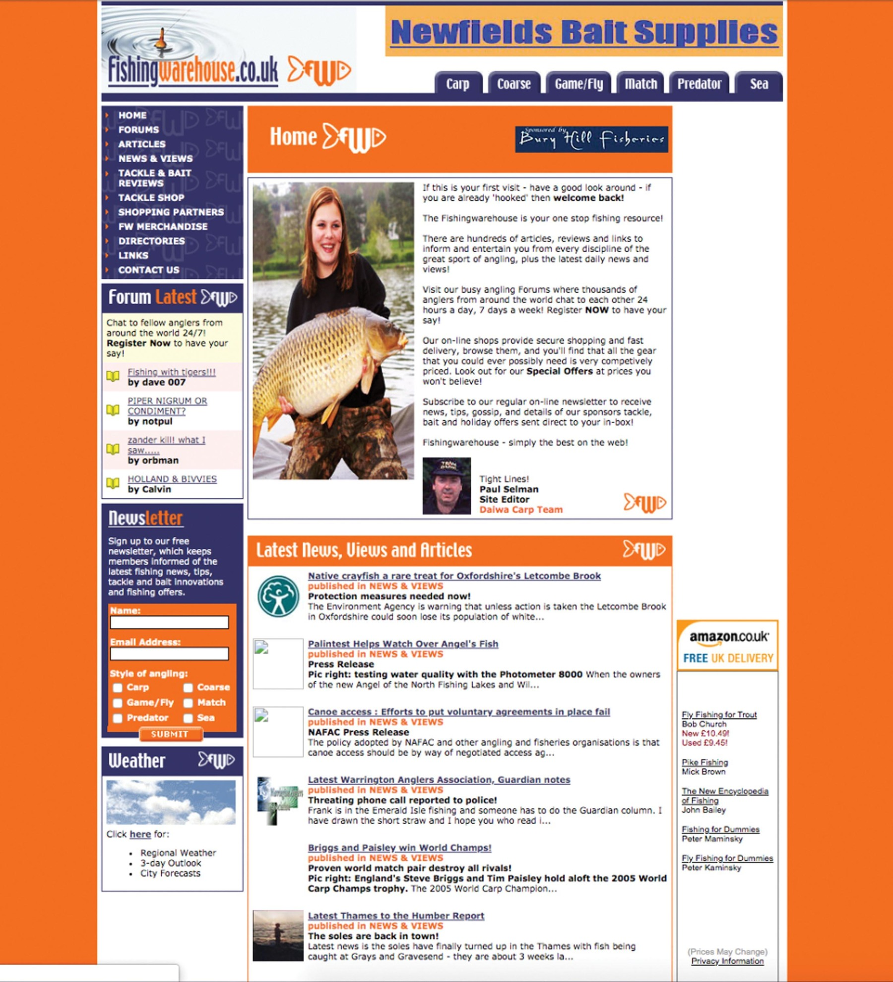 A bolder, bright, more content-driven homepage in 2005