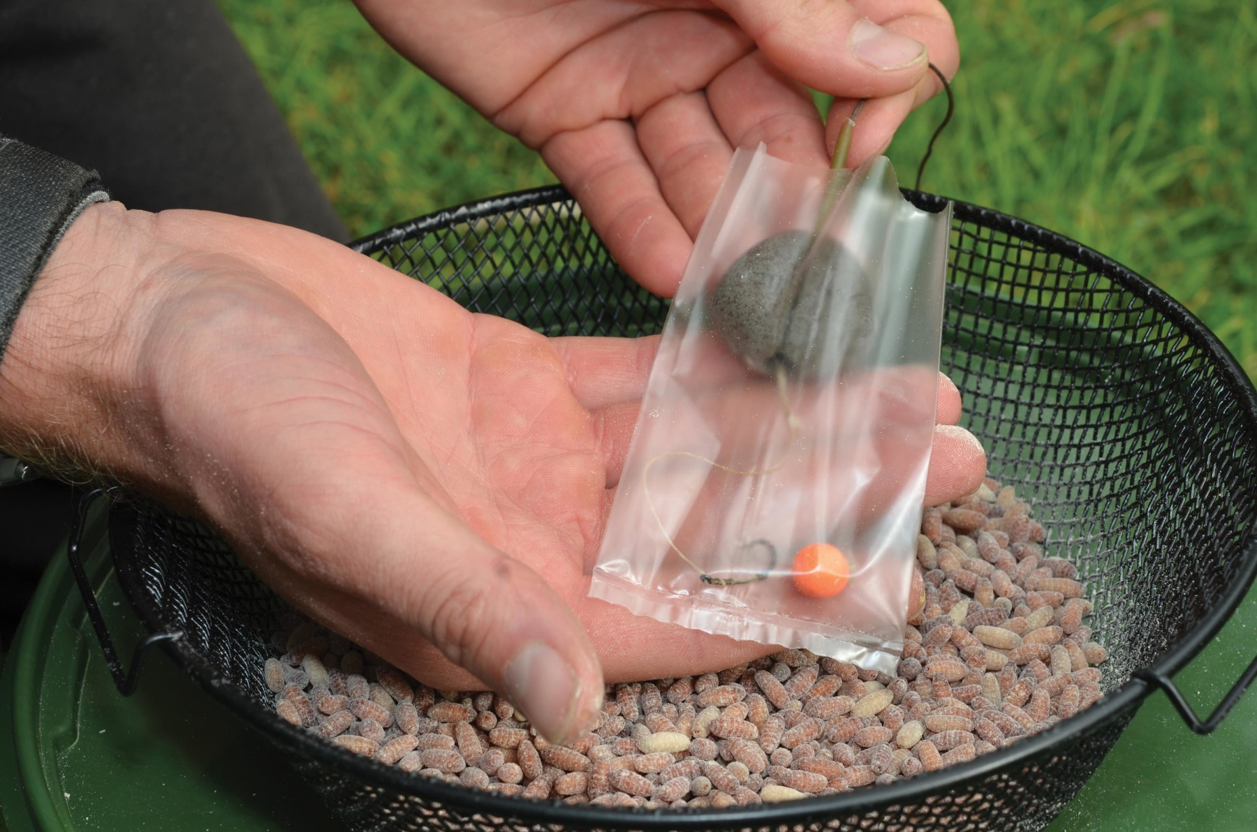 1. First place your hookbait so sits in the bottom of the bag.