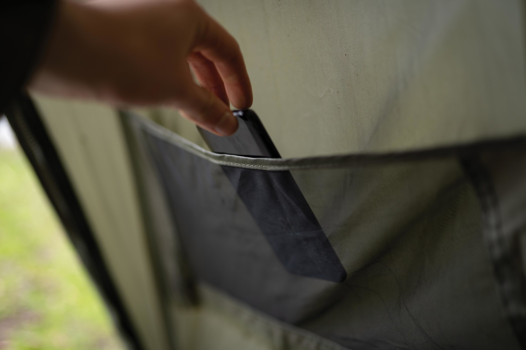 Handy features include the mesh pockets for storing your phone, receiver, keys etc.