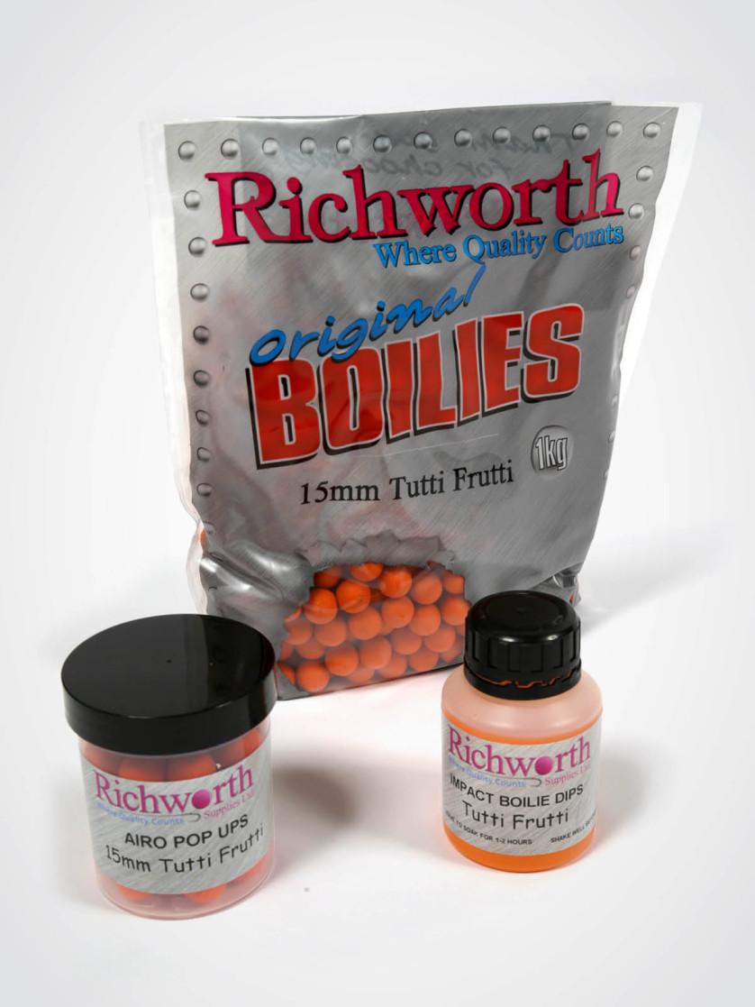 Richworth Tutti Pack: 1kg 15mm Boilies, Dip, 15mm Pop-Ups