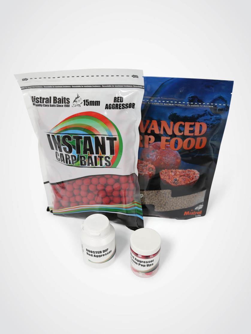 Mistral Baits Red Aggressor Pack: 1kg 15mm Shelf-life Boilies, 900g Pellet, 1 x Dip & 1 x 15mm Pop-up