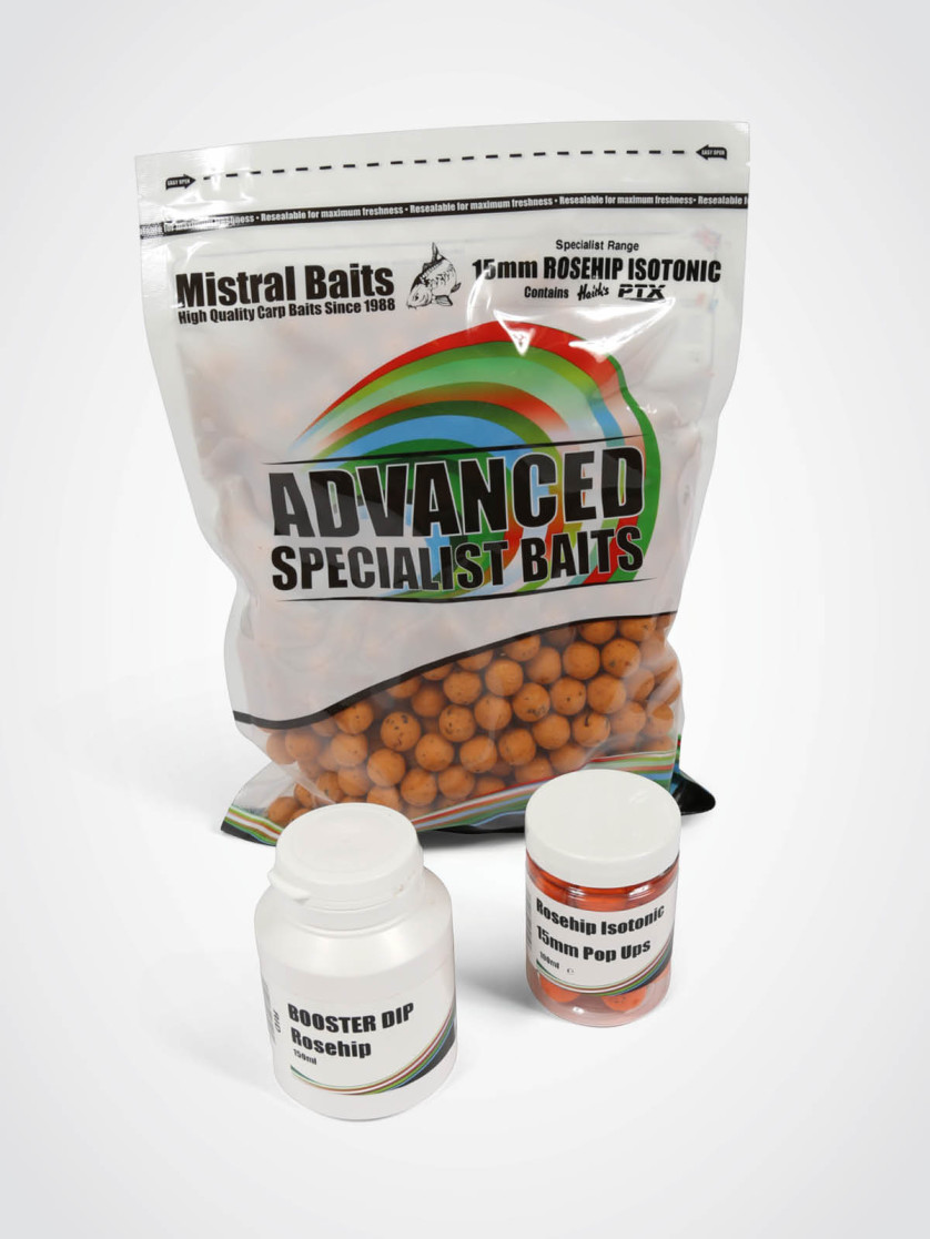 Mistral Baits Rosehip Isotonic Pack: 1kg 15mm Boilies, Dip & 15mm Pop-ups