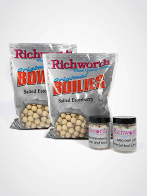 Richworth Salted Esterberry Pack: 2kg 15mm boilies, Wafter + Pop-ups