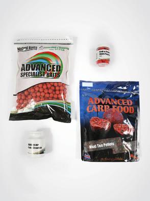 Mistral Crab & Crawfish Bait Pack - 1kg 15mm Shelf-life Boilies, 900g Pellet, 1 x Dip, 1 x Pop-up
