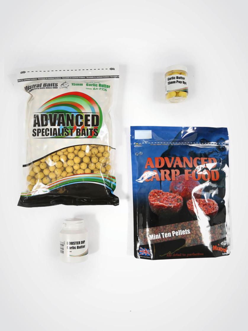 Mistral Garlic Butter Bait Pack - 1kg 15mm Shelf-life Boilies, 900g Pellet, 1 x Dip, 1 x Pop-up