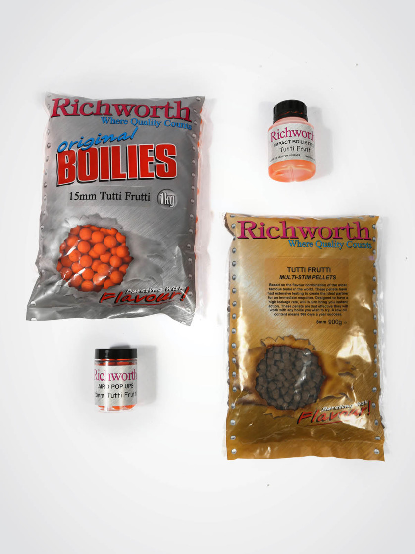 Richworth Tutti Frutti Pack - 1kg 15mm Shelf-life Boilies, 900g Pellet, 1 x Dip, 1 x Pop-up