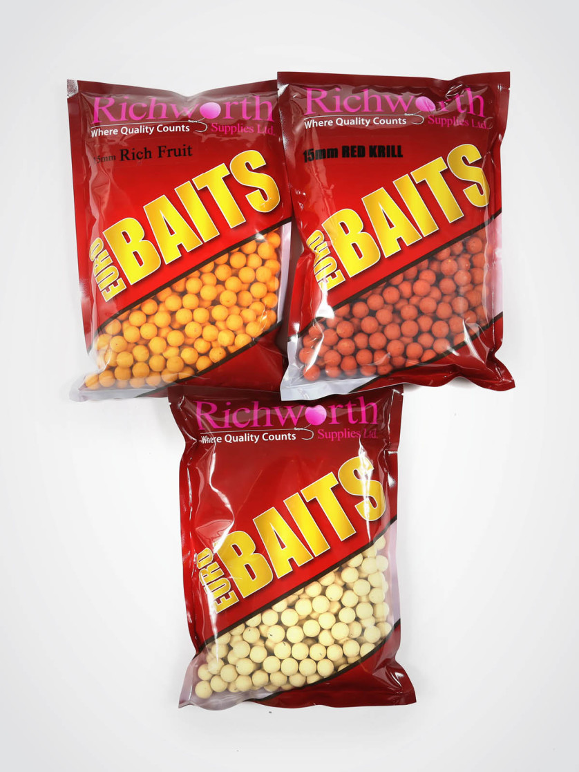 Richworth 3kg Shelf-life Boilie Pack - 1kg 15mm Rich Fruit, 1kg 15mm Red Krill, 1kg 15mm White Nectar